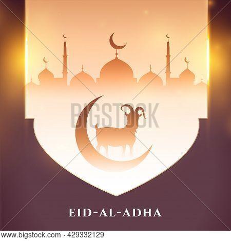 Eid Al Adha Bakrid Wishes Beautiful Card Design Vector Illustration