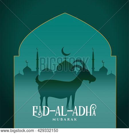 Islamic Eid Al Adha Card With Goat And Mosque Illustration