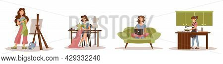 Collection Of Women Doing Their Hobbies. Artist, Seamstress, Blogger, Cook. White Background