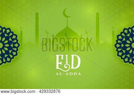 Eid Al Adha Wishes Green Card Design Vector Illustration