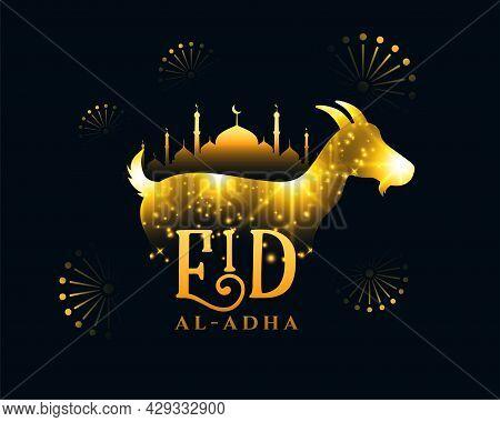 Eid Al Adha 2021 Wishes Card With Golden Sparkles Design Vector Illustration