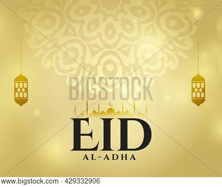Islamic Decoration Style Eid Al Adha Card Design Vector Illustration