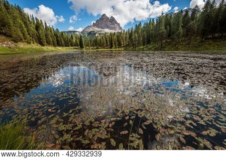 Santa Maddalena Village View With Stunning Picturesque Dolomite Alps Peaks In Val Di Funes Valley, S