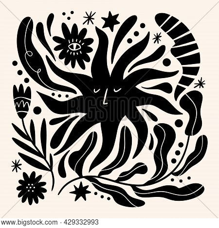 Sun Flower Art. Folk Rural Rustic Fairytale Style, Hygge And Lagom Design. Nordic Scandi Decor Eleme