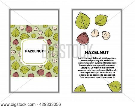 Set Of Cards Banners, Tags, Package With Hand Draw Nuts - Hazelnut, Almond, Pistachio. Modern Vector
