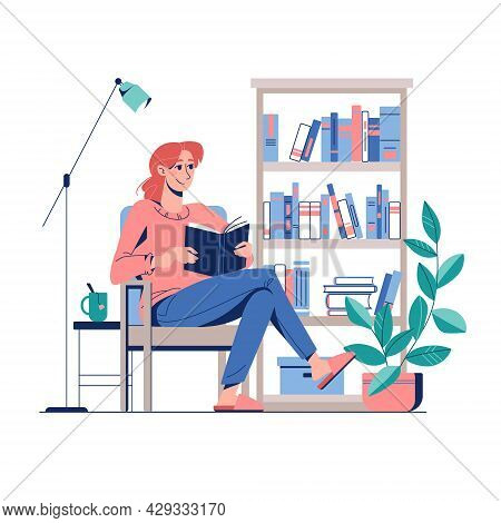 The Concept Of Reading At Home In A Comfortable Armchair. The Girl Is Reading A Book, Next To Tea An