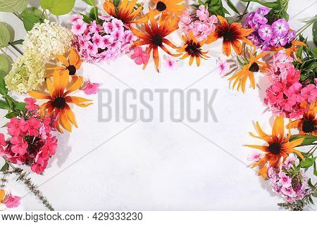 Abstract Floral Composition, Autumn Background, Frame With Colorful Phlox And Rudbeckia Flowers, Pos