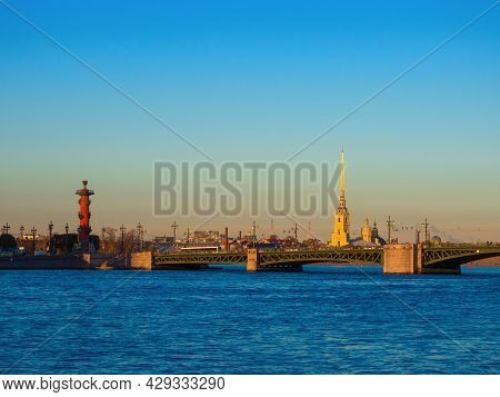 View Of The Neva River, Peter And Paul Fortress And Palace Bridge, Saint Petersburg, Russia