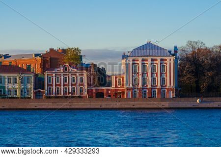 Panoramic View Of Saint Petersburg With Water And Bridge, Russia From Height. Summer Sunset Urban Ae