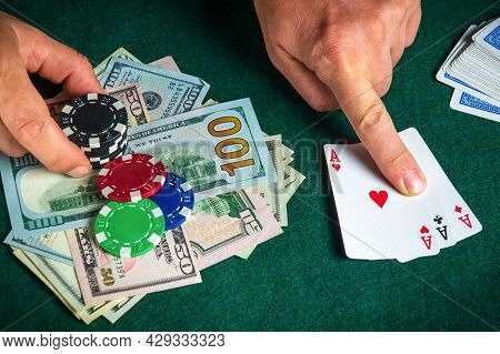 Success In Winning On The Table In A Poker Club With A Combination Of Cards Three Aces
