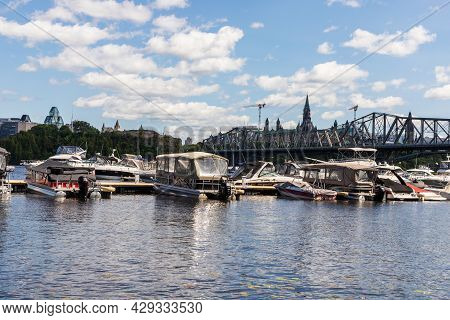 Alexandra Bridge From Gatineau City Of Quebec To Ottawa And Yacht Club In Canada