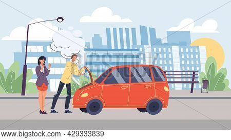 Vector Flat Cartoon Characters In Road Accident Scene.car Broke Down, Male Owner Trying To Fix It, H