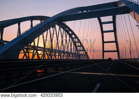 Crimea Bridge Over Kerch Strait At The Evening Sunset