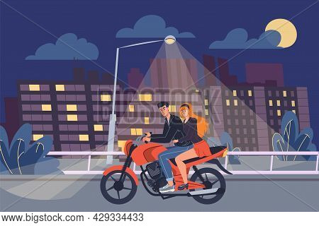 Vector Flat Cartoon Man And Woman Characters Ride Motorcycle On Night Road.young Stylish Teenager An