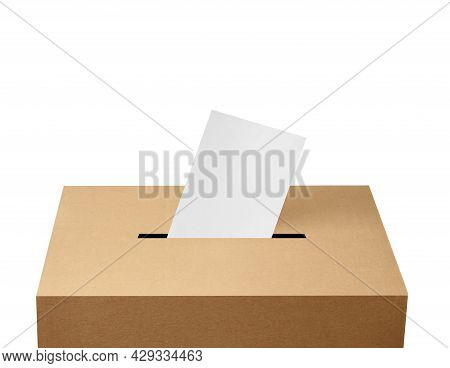 Close Up Of A Ballot Box And Flying Papers Casting Vote On White Background