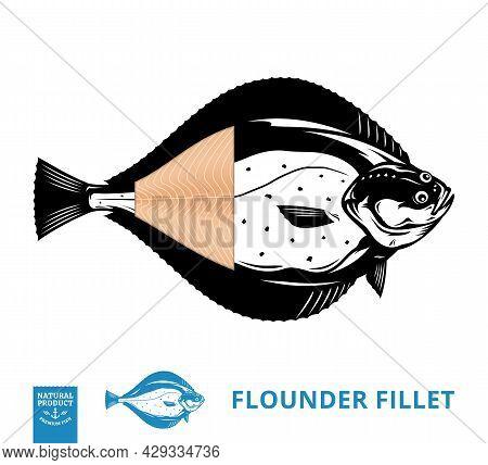 Vector Flounder Illustration With Fillet