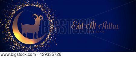 Sparkling Eid Al Adha Festival Banner Design Vector Illustration