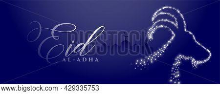 Eid Al Adha Photo Banner With Sparkling Goat Face Design Vector Illustration