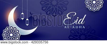 Beautiful Eid Al Adha Festival Banner Design Vector Illustration