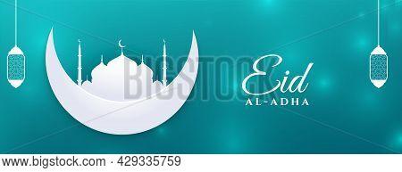 Flat Paper Style Eid Al Adha Muslim Festival Banner Design Vector Illustration