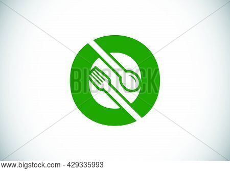 Initial O Monogram Alphabet With A Fork, Spoon. Font Emblem. Modern Vector Logo For Cafe, Restaurant