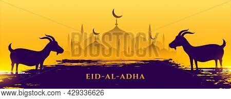 Eid Al Adha Muslim Festival Banner Design Vector Illustration