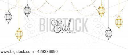 Eid Al Adha Mubarak Festival Banner Design Vector Illustration
