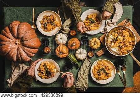 Flat-lay Of Fall Dinner For Gathering Or Thanksgiving Day Celebration