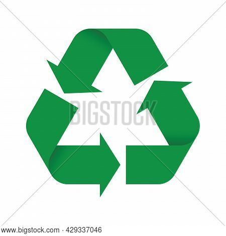 Universal Recycling Symbol. Reverse Version. Theme Of Low Or Zero Waste, Clear Energy, Natural Resou