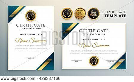 Stylish Diploma Certificate Multipurpose Template In Premium Golden Style