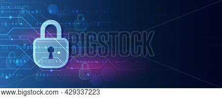 Abstract Blue Background With Various Technology Elements. Futuristic Padlock Vector Illustration. C