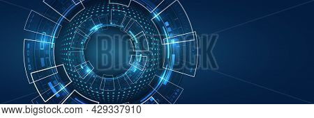 Sci Fi Technology Background. Wide Futuristic Hi-tech Design Innovation Concept. Abstract Communicat