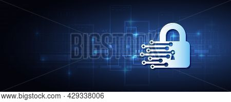 Cyber Attack Protection. Protection From Virus Attack. Global Antivirus Secure System. Abstract Blue
