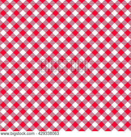 Diagonal Gingham Seamless Pattern. Red And White Checkered Background With Striped Squares. Geometri
