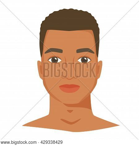 Black Man Face With Shot Haircut. Male Portrait In Flat Style. Front View. Vector