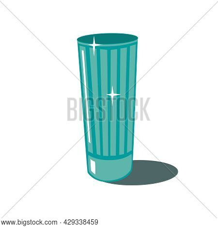 Tall Green Tumbler. Faceted Empty Glass, Isolated On A White Background. The Eps10 Vector.