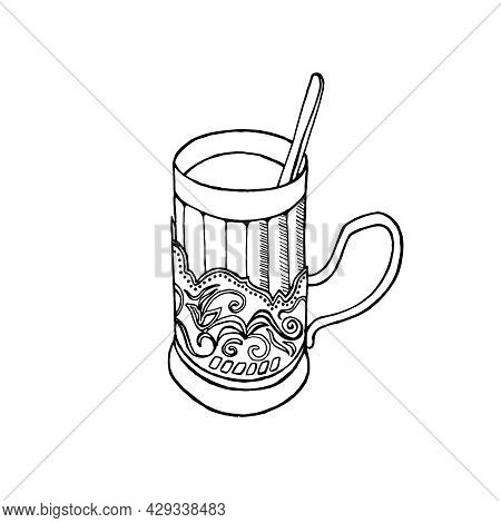 Vector Sketch Of A Faceted Glass With A Vintage Cup Holder, A Teaspoon, Isolated On A White Backgrou