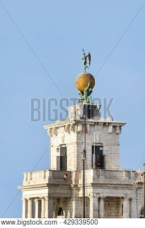 Atlas Statues Dogana Di Mare Customs House At Grand Canal. 17th Century Atlases Hold Globe With Weat