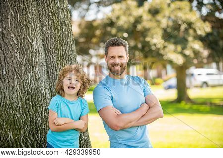 Dad With Kid On Summer Day. Parenting And Fatherhood. Fathers Day. Happy Father And Son