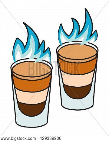 Stylish Hand-drawn Doodle Cartoon Hipster Style Vector Illustration. A Pair Of Shot Shooter Burning