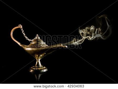 Magic fairy tale Lamp with smoke swirl poster