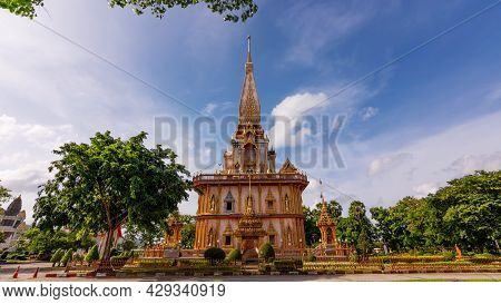 Beautiful Pagoda In Phuket, Thailand - 8 August 2021 , The Phra Mahathat Chedi (great Relic Stupa) W