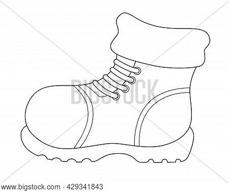 Winter Warm Boot - Vector Linear Illustration For Coloring. Outline. Boot - Shoes With Thick Soles W