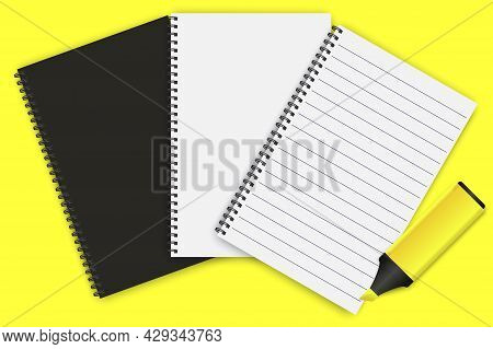 Notepads For Booklet Design. Notebook Paper. School Notebook. Vector Illustration. Stock Image.