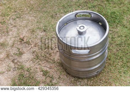 Photo Of Equipment For The Production Of Beer. New A Keg With Fresh Beer. Metal Beer Keg Container W