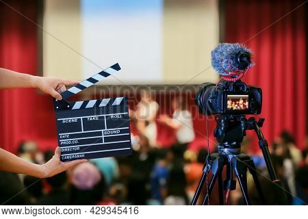 Man Hands Holding Movie Clapper. Film Director Concept. Camera Show Viewfinder Image Catch Motion In