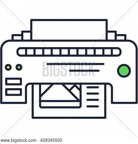 Printer Line Icon Vector Fax Outline Pictogram