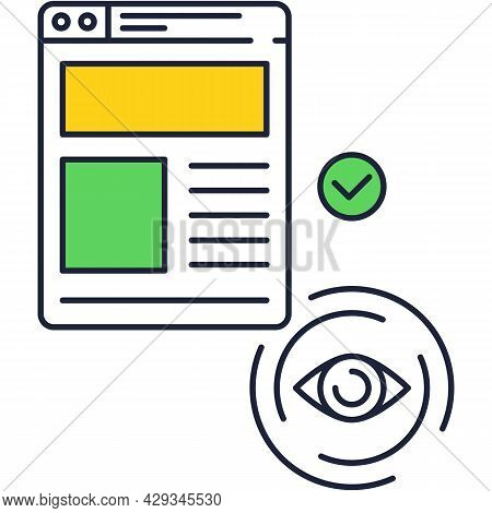Vision Icon Eyeball And Business Report Pictogram