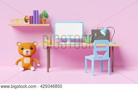 Office Room Or Home Office Workplace With Computer,desk,chair,teddy Bear, Book,lamp, Coffee Cup In P