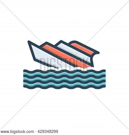 Color Illustration Icon For Shipwreck Capsized Stormy Waves Crashing  Transport Rafting